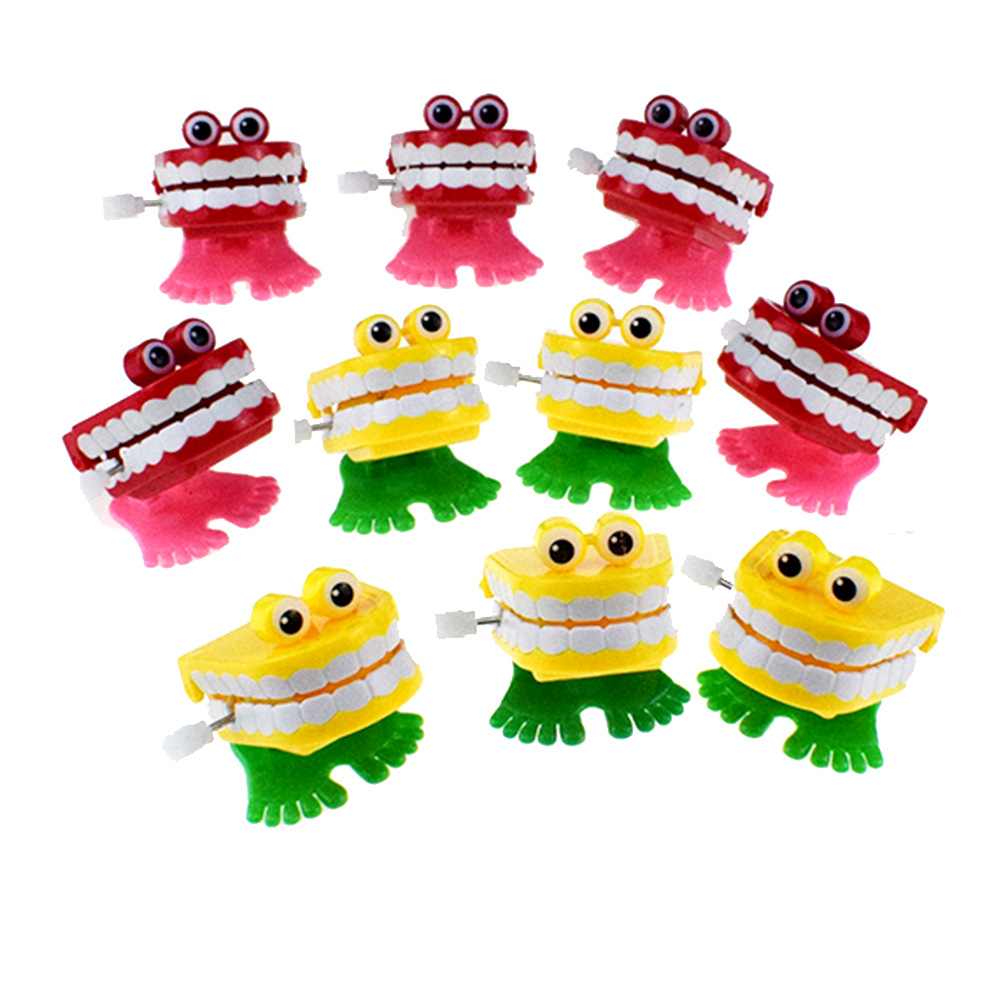 Red Yellow Spring-Winding With Eyes Jumping Teeth Ghost Teeth Halloween Christmas Small Gifts Winding Toy