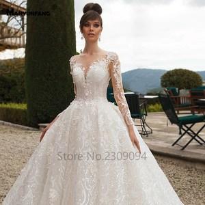 Image 4 - Vestido de boda de manga larga con espalda transparente, abendkleider 2020