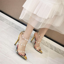 2019 Plus Size 41 Women Summer Fetish High Heels Rivets Studded Clear Jelly Sandals Pumps Silver Transparent Luxury Shoes(China)