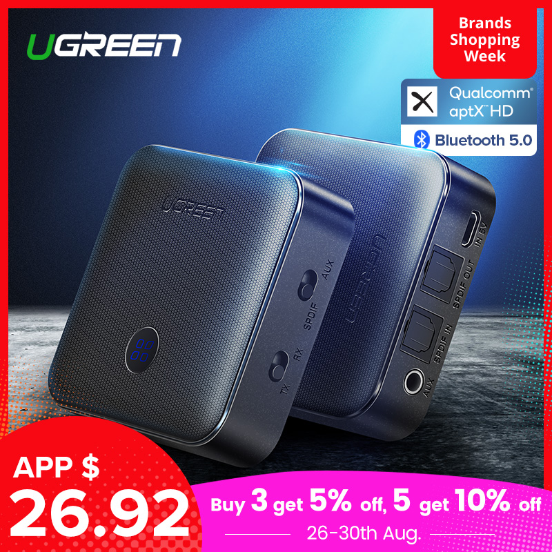 Ugreen 5.0 Do Bluetooth Receptor Transmissor 4.2 aptX HD para TV Fone De Ouvido 3.5 milímetros Óptica SPDIF Bluetooth Adaptador Receptor de Áudio AUX