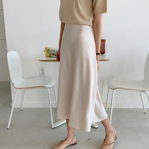 Silk Skirt Satin High-Waist Korean Moda Women Office Elegant Casual Faldas Mujer Lady