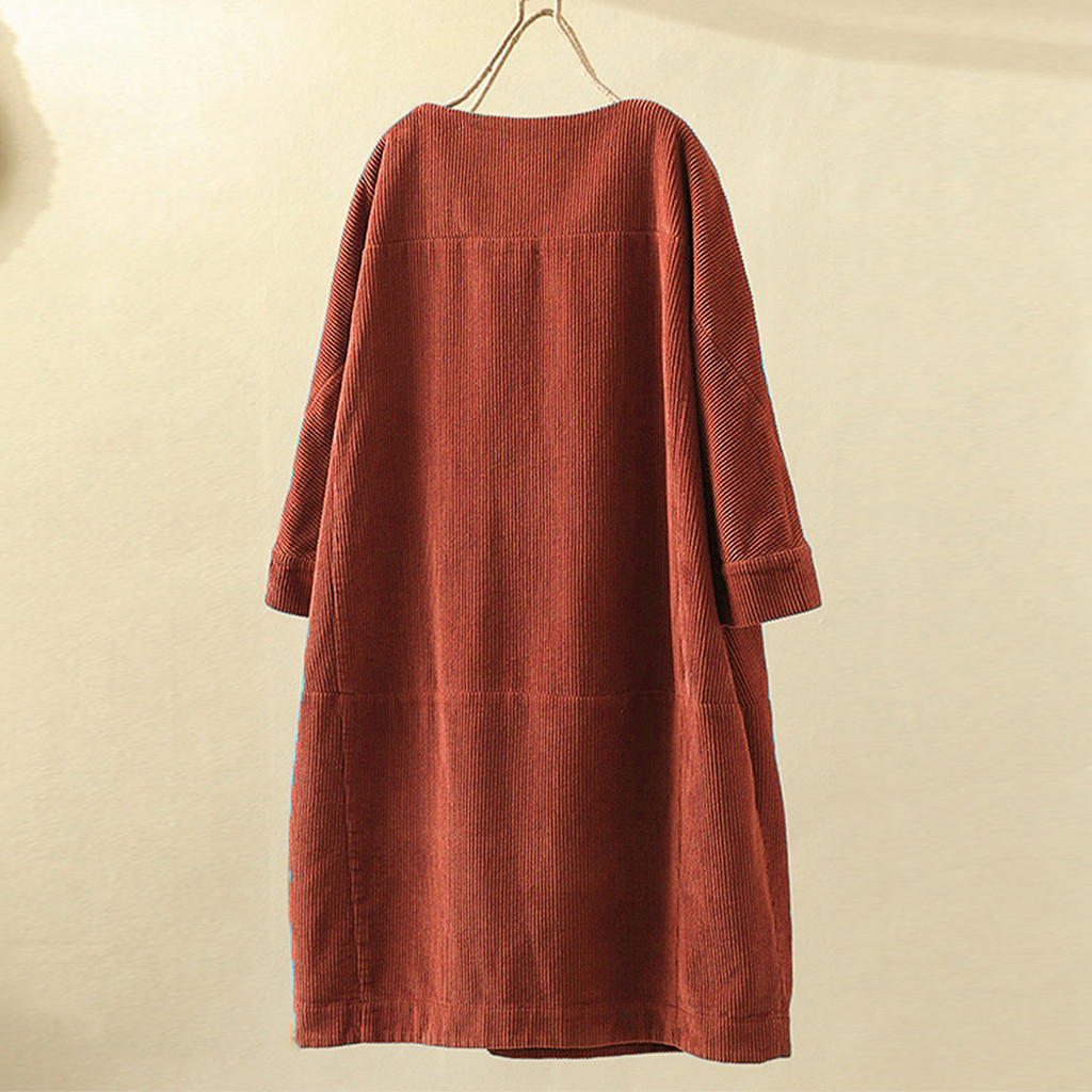Женское винтажное вельветовое одноцветное платье с карманами и длинным рукавом свободного покроя размера плюс 5XL ropa mujer jurken grote maten@ 45