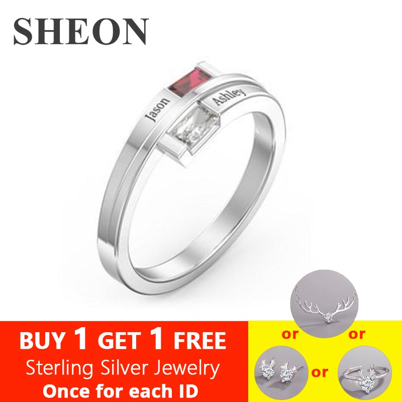 SHEON Love Promise Rings For Women Personalized Birthstone Ring Custom Engrave Names Genuine 925 Sterling Silver Jewelry Gift in Rings from Jewelry Accessories