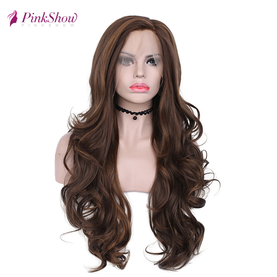 Pinkshow Brown Wig Lace Front Wigs For Women Long Synthetic Lace Front Wig Natural Wavy Glueless Heat Resistant Fiber