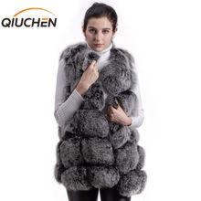 QIUCHEN PJ8046 אמיתי שועל פרווה נשים חורף אפוד עבה 70cm ארוך אפוד O צוואר נשים אופנה אפוד באיכות גבוהה אמיתי פרווה אפוד מכירה לוהטת