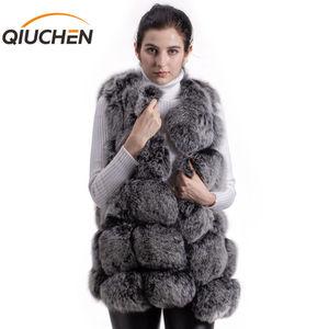 Image 1 - QIUCHEN PJ8046 אמיתי שועל פרווה נשים חורף אפוד עבה 70cm ארוך אפוד O צוואר נשים אופנה אפוד באיכות גבוהה אמיתי פרווה אפוד מכירה לוהטת