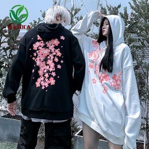 Image 3 - 2019 livraison directe Style chinois cerisier fleur à capuche surdimensionné Couple haute rue Hip Hop Rock Band sweat automne hiver