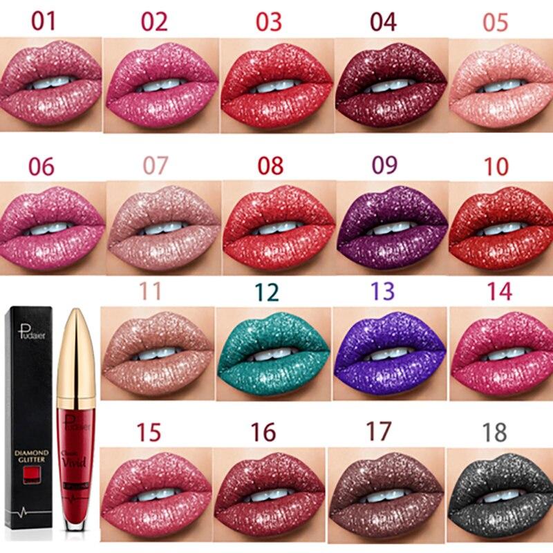 18 farben Diamant Glänzenden Lippenstift Matte Perlglanz Lip Gloss Lang Anhaltende Wasserdichte Shinning Diamant Lip Gloss