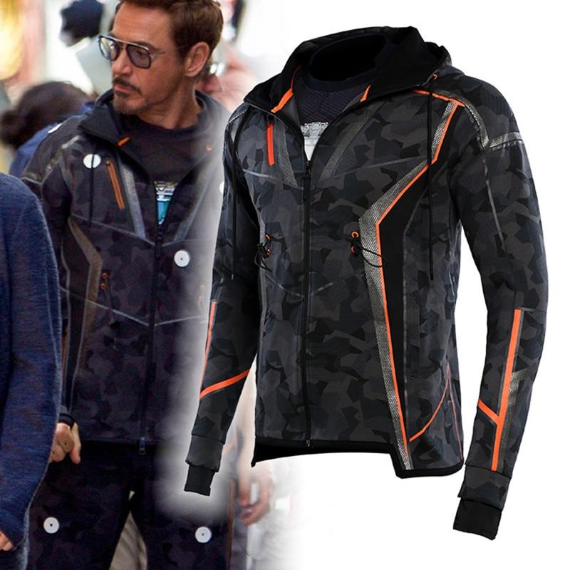 The Avengers 3 Infinity War Iron Man Jacket Tony Stark Cosplay Costume Camouflage Hoodie Winter Thick Jacket Pants S-5XL