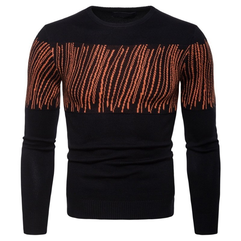 2020 New Arrival Male Pullover Casual Match Color O-Neck Collar Knitted Pullover Sweater Streetwear Slim Fit Sweaters For Men