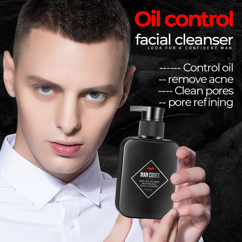 MEN CODES 150ml Men Volcanic Mud Facial Cleanser Moisturizing Facial Cleanser Oil-control Deep Cleansing Foam Faciales Care