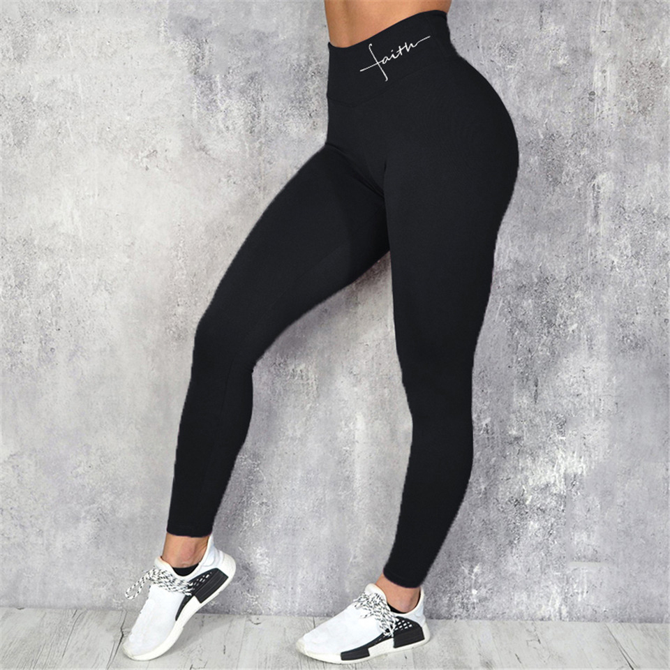 Black Sport Leggings For Fitness Women Fitness Push Up Elastic Letters Print Legging High Waist Plus Size Workout Gym Pants Slim