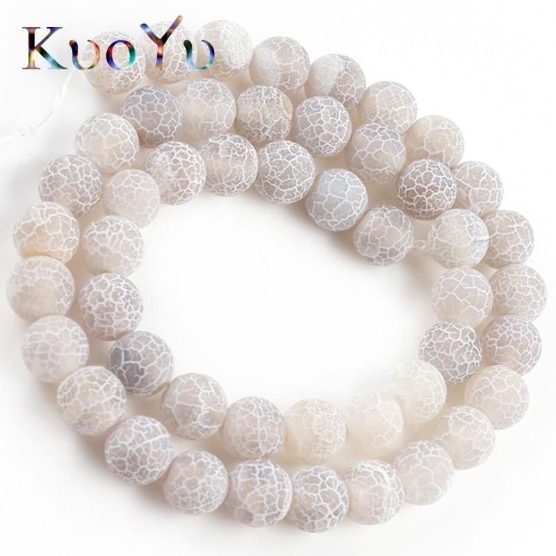 Matte Dull Polish Grey Cracked Dream Fire Dragon Veins Agates Onyx Stone Beads For Jewelry Making DIY Bracelet 15