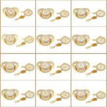 Carta inicial do bebê chupeta clipes ouro bling bpa livre 26 letras nome silicone infantil mamilo recém-nascido manequim soothe bebês
