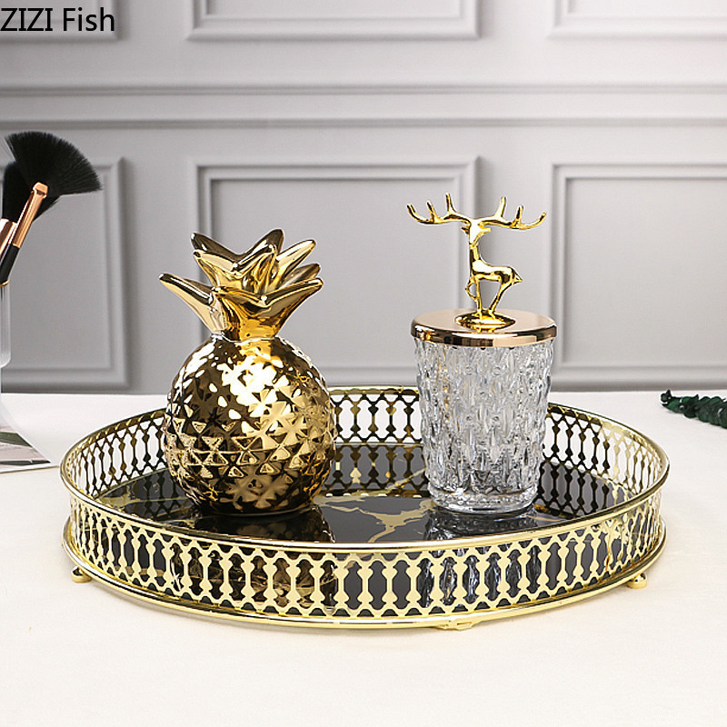 Nordic Vintage Home Decor Tempered Glass Mirror Metal Tray Round Black Golden Texture Marble Decorative Tray Dressing Table Aliexpress