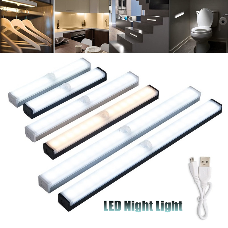 Светодиодный ночсветильник 20 см, декоративная лампа с датчиком движения для кухни, спальни, гардероба, фосветильник освещение, светодиодны...
