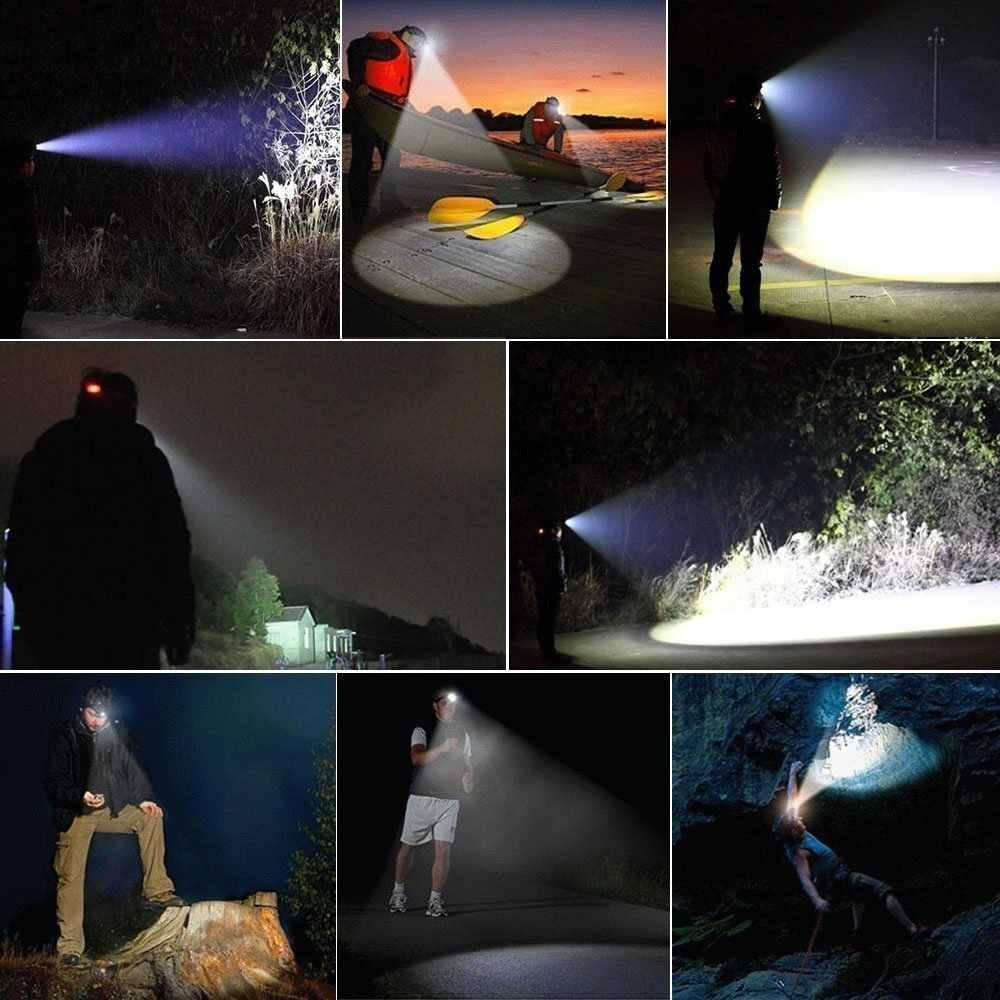 Güçlü LED far far 5LED T6 kafa lambası 8000 lümen el feneri Torch kafa ışık 18650 pil için en iyi kamp, balıkçılık