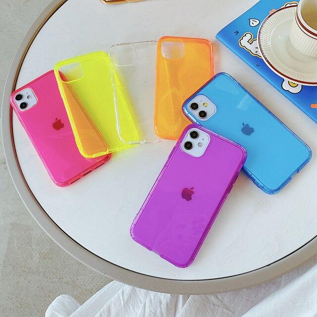 Easybyz Fluorescente di Colore Solido PhoneCase Per il iPhone 11 Pro XR X XS Max 7 8 Più Il Caso Molle di TPU Trasparente shockproof Copertura Posteriore Del Telefono