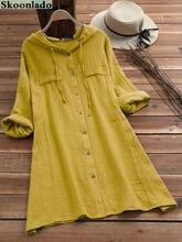 S-5XL, размеры плюс, новые женские платья с капюшоном, хлопковые льняные топы, женская повседневная одежда с капюшоном, оригинальный дизайн, хи...