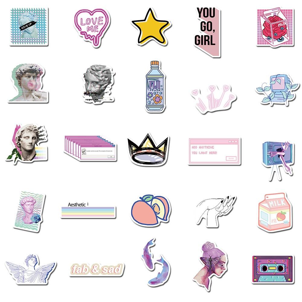 50 Pcs/Lot Vaporwave Art Style Einstein Newton Stickers for Laptop Phone Luggage Car Guitar TV Box Kid Decal Stickers