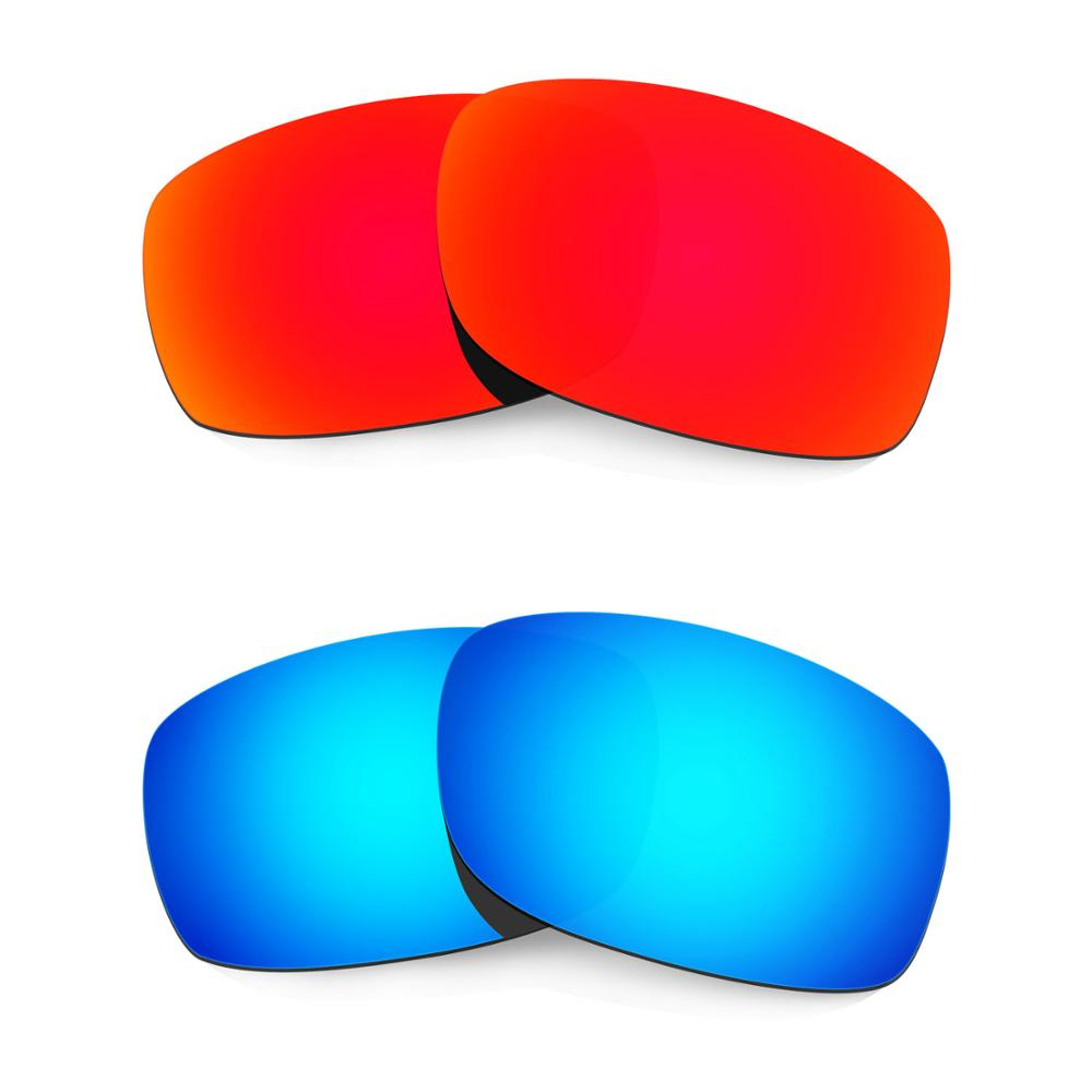 HKUCO For Fives 3.0 Sunglasses Replacement Polarized Lenses 2 Pairs - Red & Blue