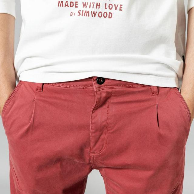 SIMWOOD 2020 new back pockets red pants men high quality little casual elastic trousers slim fit pant SI980557 34