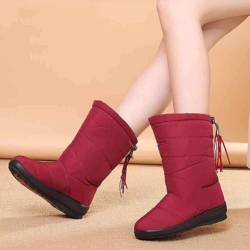 Su geçirmez kar botları kadın çizmeler kış ayakkabı kadınlar yarım çizmeler sıcak kürk Bota kadın patik kadın kış botları Botas Mujer