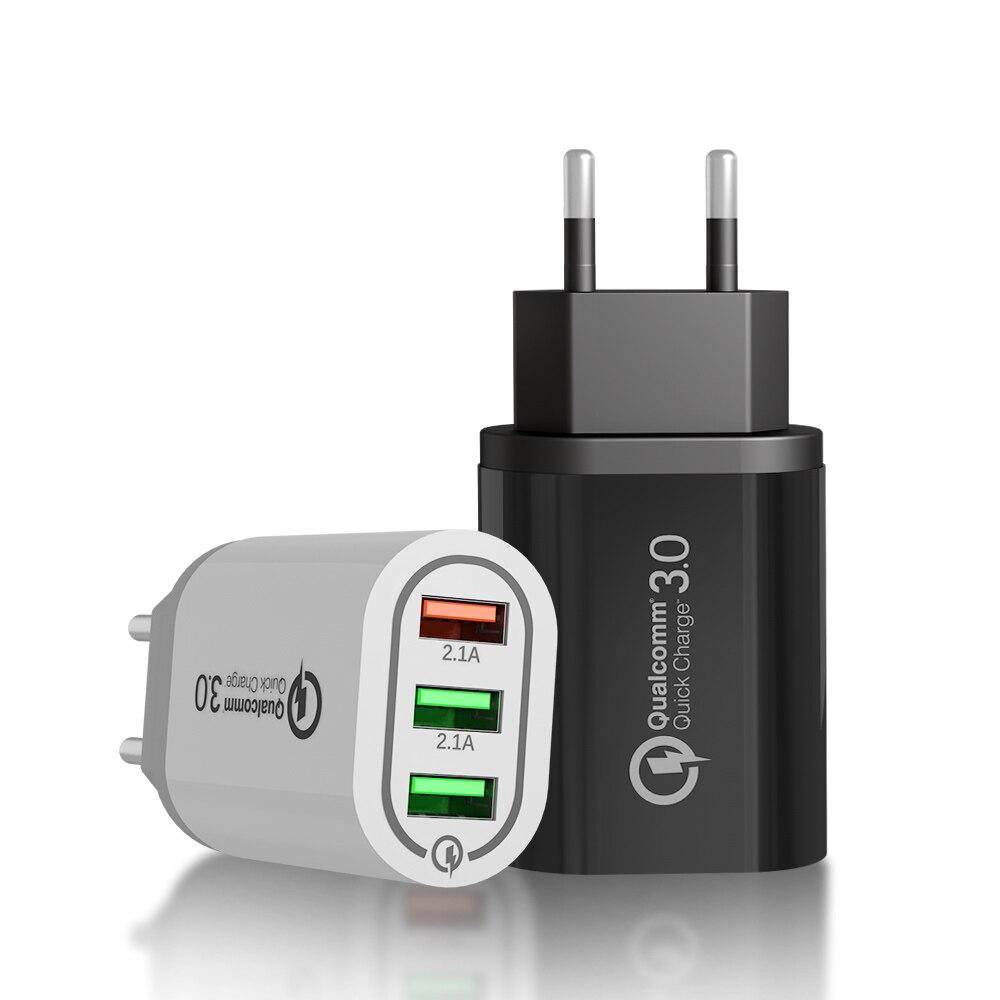 18 Вт USB зарядное устройство для iphone xiaomi huawei 5V 3.0A 3USB порт USB быстрая зарядка адаптер ЕС США usb зарядное устройство защита от перегрузки