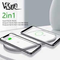 VVKing QI Caricatore Senza Fili 10W 2 in 1 di Ricarica Veloce Per il iphone Xs Max X Samsung S10 S9 S8 xiao mi mi 9 dual wireless Charger Pad
