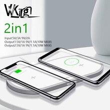Vvking qi 무선 충전기 10 w 2 in 1 빠른 충전 iphone xs max x 삼성 s10 s9 s8 샤오미 mi 9 듀얼 무선 충전기 패드