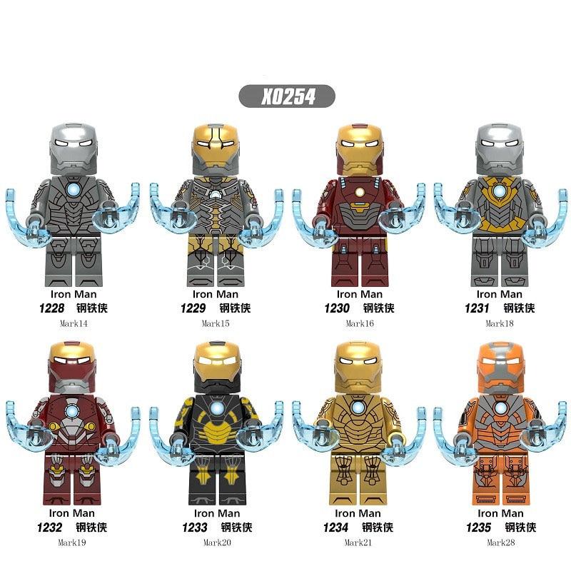 X0254 Single Sale Building Blocks Super Heroes Iron Man Mark 14 16 18 21 28 Figures Toys Model For Children