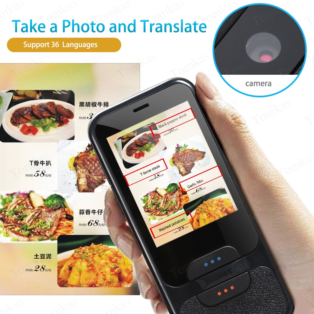 TOMKAS AI Smart Pocket Language Translator with 2.4 Inch Touch Screen and  WIFI for Multi language Voice and Photo Translation in Real Time 1