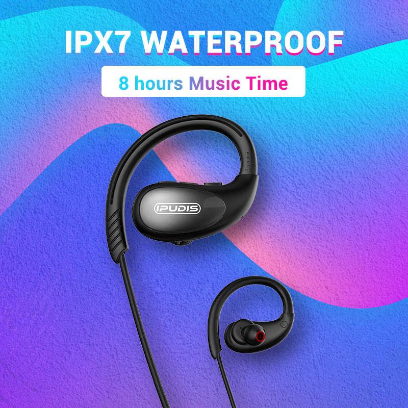 IPUDIS الرياضة سماعة رأس بخاصية البلوتوث IPX7 مقاوم للماء سماعة لاسلكية HiFi سماعة رأس ستيريو حول الرقبة سماعات الأذن 120mAh مع ميكروفون