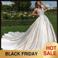 Bechoyer 3D花アップリケのウェディングドレス2020スウィートハートaラインイリュージョン裁判所の列車王女の花嫁のガウンvestidoデnoiva F196