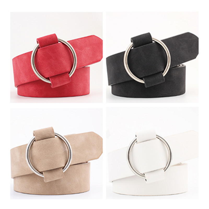 1PC Fashion Casual Round Buckle Wide Belts For Women Dress Jeans Belt Woman Ladies Faux Suede Leather Straps Ceinture Black Red