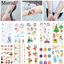 Christmas tattoo sticker funny snow man tree bell pattern colorful paper water transfer decals for body arm fake tattoo RA043 heart and bear pattern tattoo paper sticker black red
