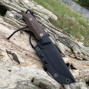 TUNAFIRE Newest D2 EDC  Fixed Hunting Knife  Micarta handle Fishing Outdoor tool   Send High Quality Kydex Sheath 6
