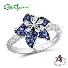 Anillo de Plata de Ley 925 para mujer de SANTUZZA, flor floreciente de Zirconia cúbica azul y blanca, joyería para fiestas