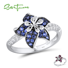 SANTUZZA כסף פרח טבעת לנשים 925 הכסף Blooming פרח כחול לבן מעוקב Zirconia кольца anillos תכשיטי מפלגה