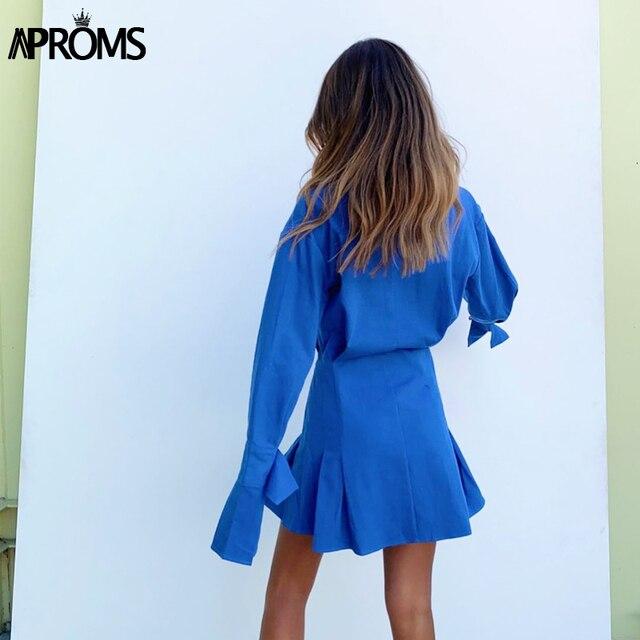 Blue Cotton Shirt Flared Sleeve dress 4