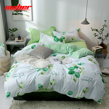 Sisher Printed Duvet Cover set Queen Plant Green leaf Cotton Single Double King Size Quilt Covers