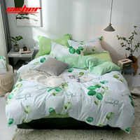 Sisher Printed Duvet Cover set Queen Plant Green leaf Cotton Single Double King Size Quilt Covers sets Simple Bedclothes duvets