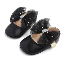 Newborn Baby Girl Bling PU Leather Shoes Kid Moccasins First Walkers Crown Bow Soft Soled Non-slip Footwear Crib Shoes new