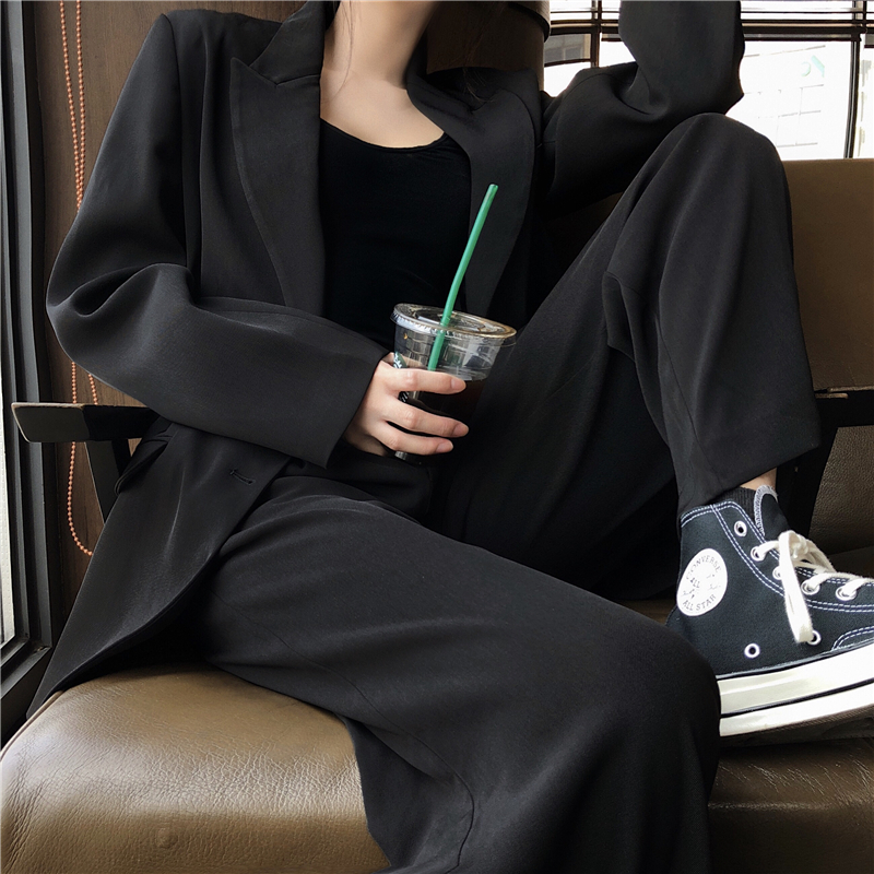 New Arrival Women Black Solid 2 Piece Set Notched Blazer High Waist Wide Leg Pants Chic Suit Korean Style Female Wear S9O502F