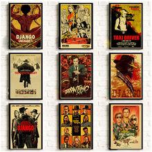 Quentin tarantino filme matar bill/django unchained/reservatório cão filme cartazes de papel kraft sala de cinema casa decoração da parede cartaz