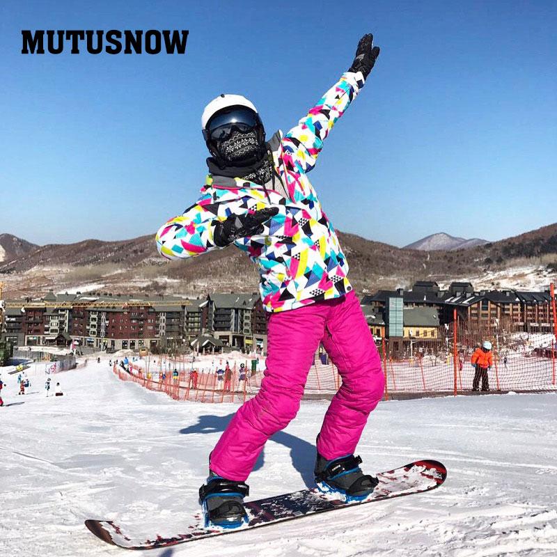2019 Super Warm Women Ski Suit Snowboard Jacket Pant Winter Clothing Trouser Windproof Waterproof Thicken Thermal Female Sport