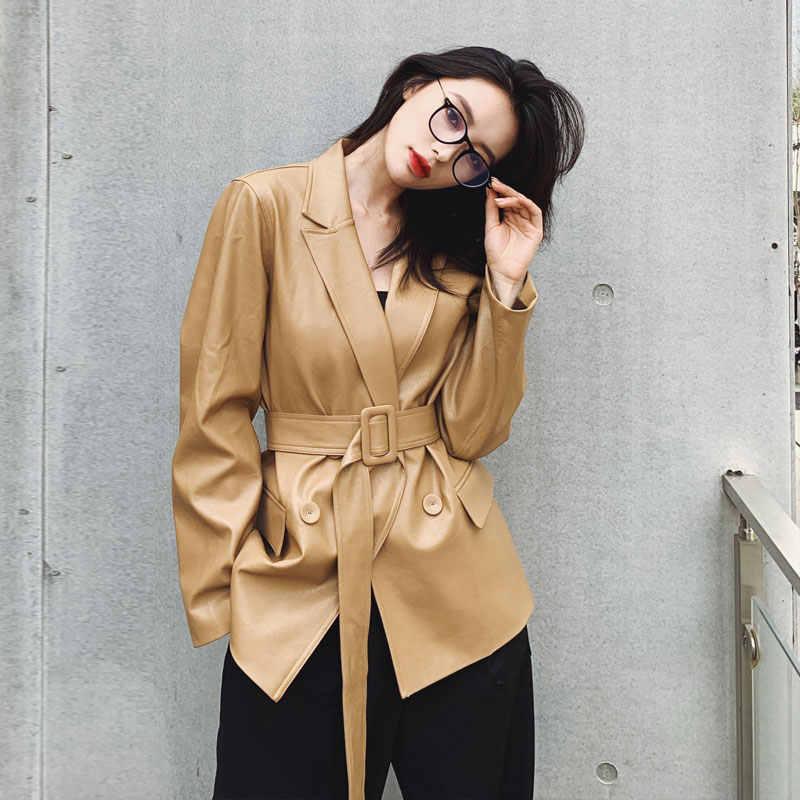Уличная куртка из искусственной кожи женская 2020 Новая Осенняя Женская свободная модная кожаная куртка средней длины NS1961