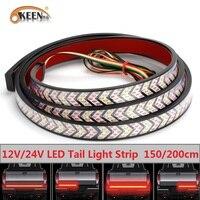 OKEEN-luz LED para puerta trasera de coche, 12V, 24V, barra de luz roja, intermitente, freno, marcha atrás, tira de luz trasera