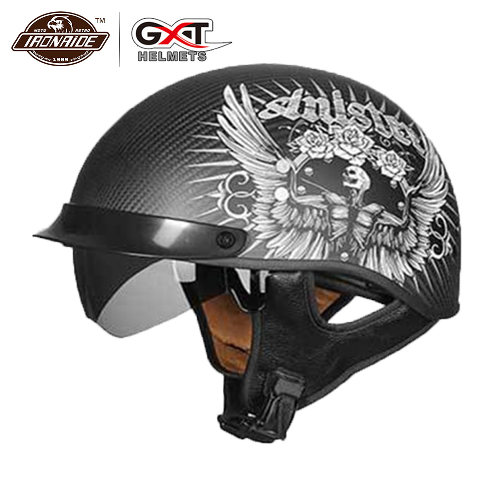 GXT Retro Motorcycle Helmet Carbon Fiber Moto Helmet Scooter Vintage Half Face Biker Motorbike Crash Moto Helmet For Men Women