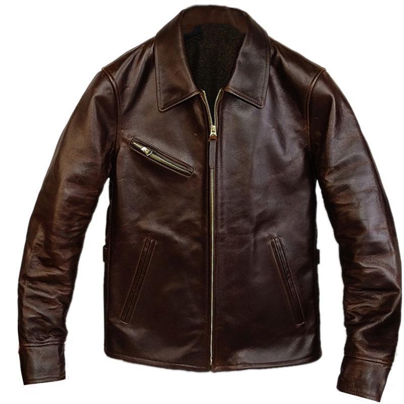 2020 Retro Brown Men American Style 1930S Biker's Leather Jacket Plus Size XXXXL Genuine Cowhide Autumn Slim Fit Motorcycle Coat